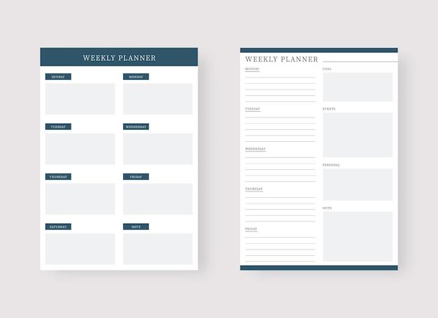 Wekelijkse planner sjabloon set van planner en takenlijst