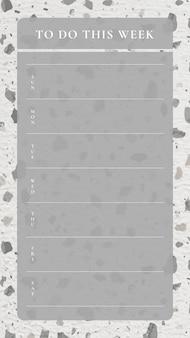 Wekelijkse planner sjabloon, terrazzo achtergrond, esthetische social media post, vector