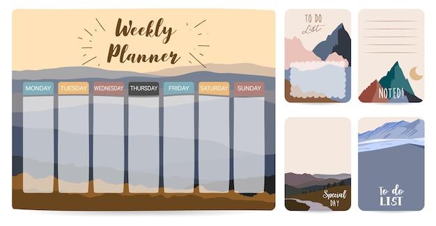 Wekelijkse planner start op zondag met berg, zon, takenlijst die wordt gebruikt voor verticaal digitaal en afdrukbaar a4 a5-formaat