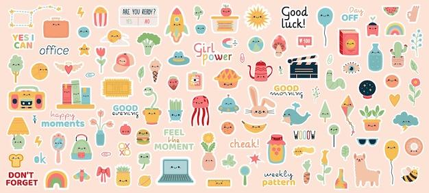 Wekelijkse planner stickers. doodle notebook, dagboek badges, motivatie zinnen en karakters