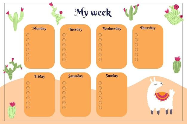 Wekelijkse planner voor kinderen met handgetekende cactus en lama alpaca in cartoon kinderachtige stijl