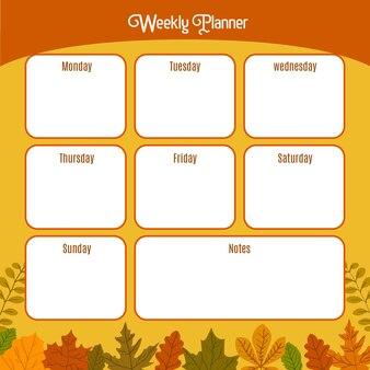 Wekelijkse planner voor school herfst thema