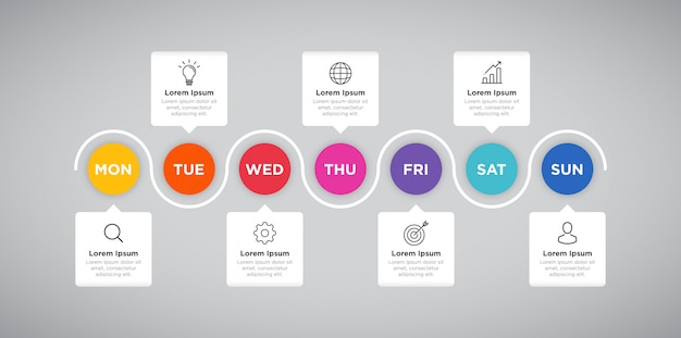 Wekelijkse planner zakelijke infographic presentatie
