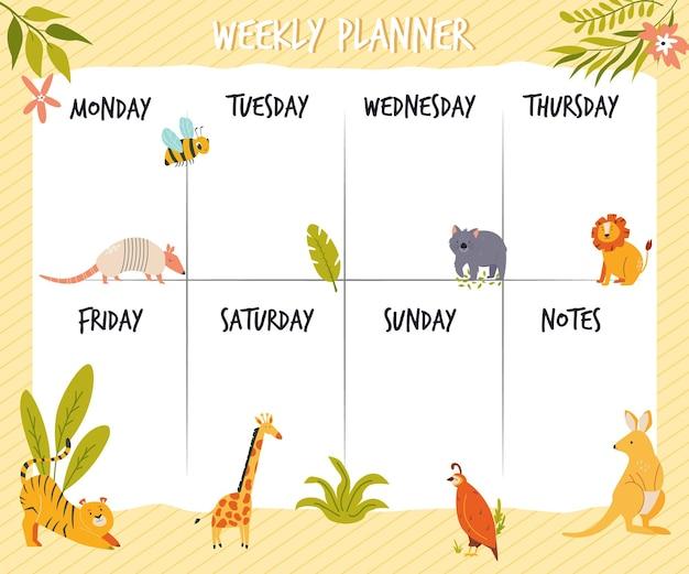Wekelijkse plannerkaart, banner met schattige wilde dieren. vector illustratie