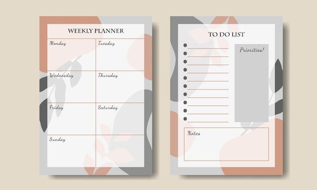 Wekelijkse plannersjabloon met grijs oranje abstracte achtergrond afdrukbaar