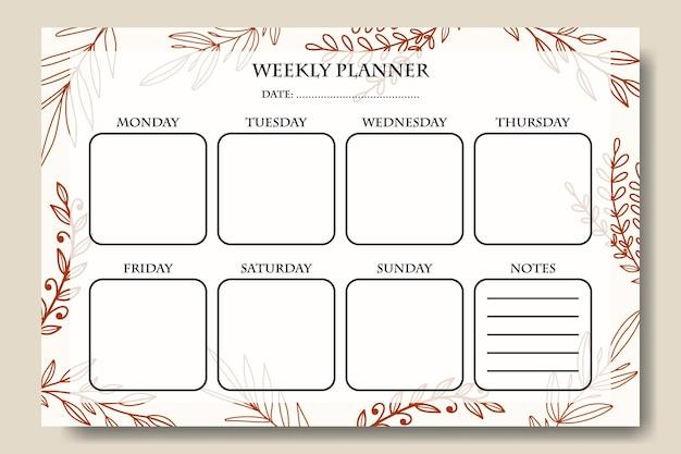 Wekelijkse plannersjabloon met handgetekende lijntekeningen bladachtergrond