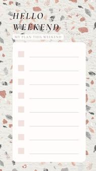 Wekelijkse plannersjabloon, terrazzo-achtergrond, esthetische instagram-post, vector