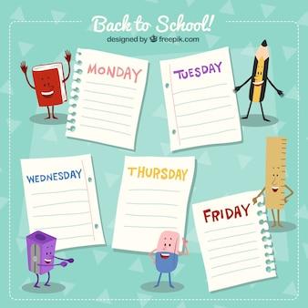 Wekelijkse planning van de rug naar school met karakters