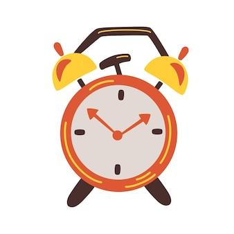 Wekker. klok ontwerpconcept. retro rode wekker rinkelt. wektijd. ochtend tijd. platte vectorillustratie.