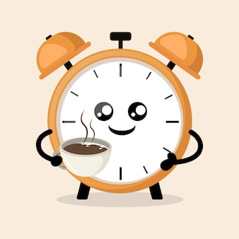 Wekker koffie drinken in de ochtend schattige mascotte