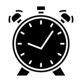 Wekker met dubbele bel. tijdpictogram in glyph-stijl. eenvoudige klokpictogram. vector