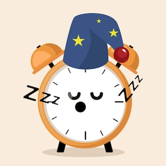 Wekker slapen in de nacht schattige mascotte