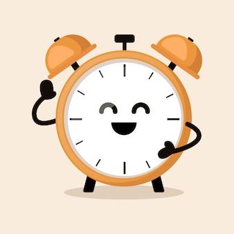 Wekker zeg hallo schattige mascotte ontwerp illustratie