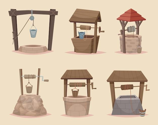Wel tekenfilm. verschillende wellness van houten en stenen materialen dorp architectonische objecten vector collectie. goed verse, traditionele illustratie van de waterbron op het platteland