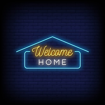 Welcome home neon signs style-tekst
