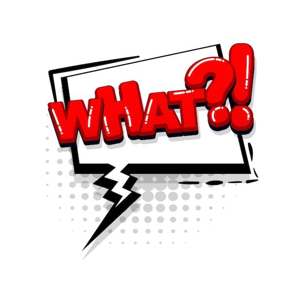 Welke vraag komische rode tekst collectie geluidseffecten pop-art stijl vector tekstballon