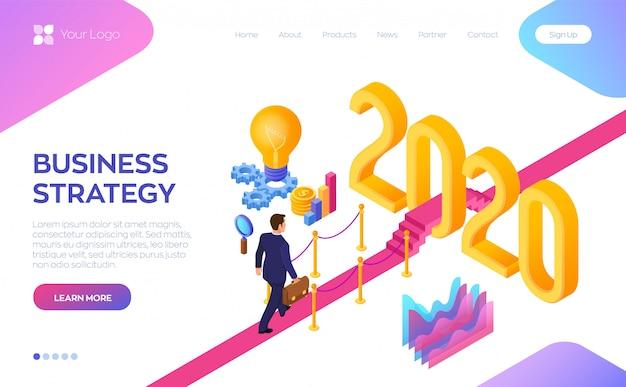 Welkom 2020. path to new year. zakenman die met aktentas op rood tapijt lopen tot het nieuwjaar van 2020.