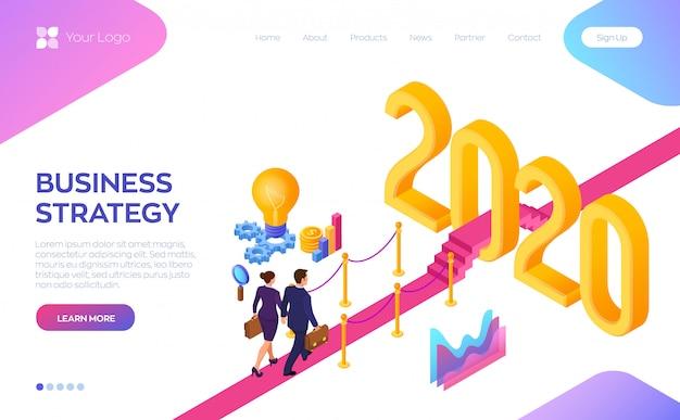 Welkom 2020. zakenman en zakenvrouw lopen op rode loper naar het nieuwe jaar 2020.