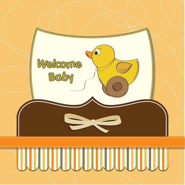Welkom babykaart met eend speelgoed
