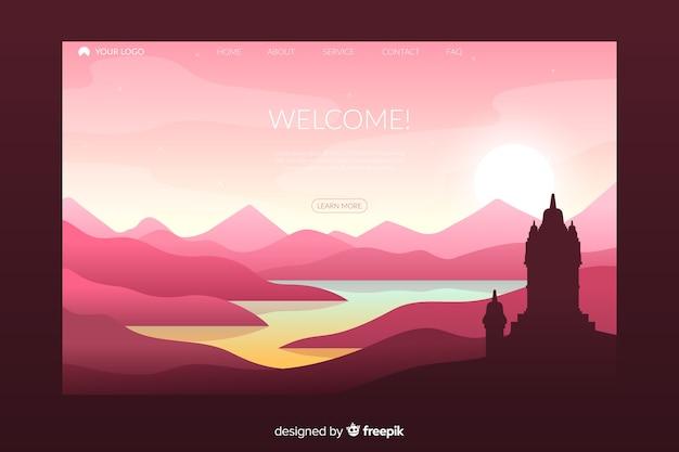 Welkom bestemmingspagina sjabloon met landschap