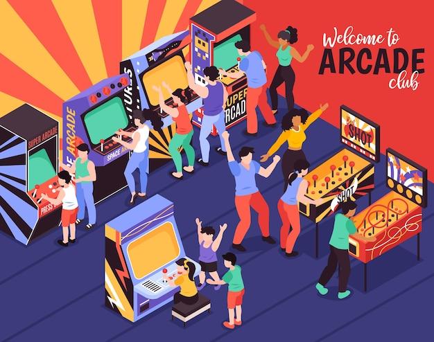 Welkom bij arcade club gekleurde compositie met ouders en hun kinderen die spelmachines gebruiken om te spelen
