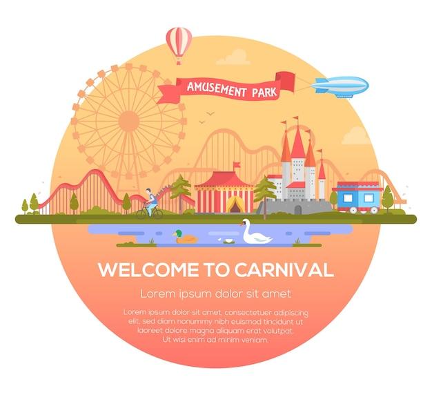 Welkom bij carnaval - moderne vectorillustratie in een rond frame met plaats voor tekst. stadsgezicht met attracties, circus, kasteel, vijver met vogels, luchtschip. entertainment, pretparkconcept