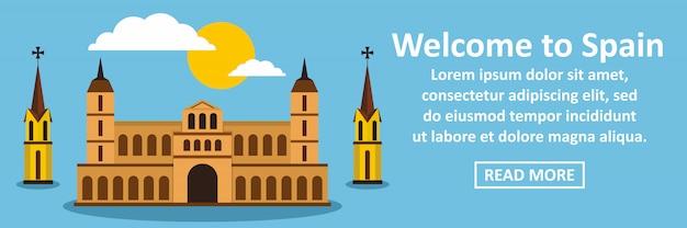 Welkom bij de banner horizontaal concept van spanje