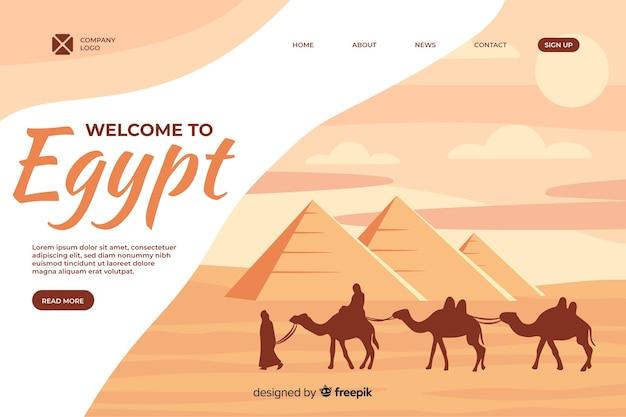 Welkom bij de bestemmingspagina-sjabloon voor egypte Premium Vector