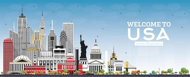 Welkom bij de skyline van de vs met grijze gebouwen en blauwe lucht. beroemde bezienswaardigheden in de vs. vectorillustratie. reis- en toerismeconcept met historische architectuur. usa stadsgezicht met monumenten.