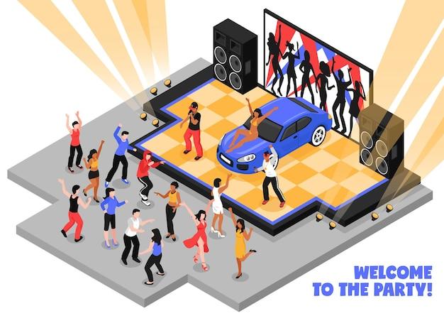 Welkom bij het isometrische feest met rappers die rapmuziek uitvoeren op het podium en dansende tieners