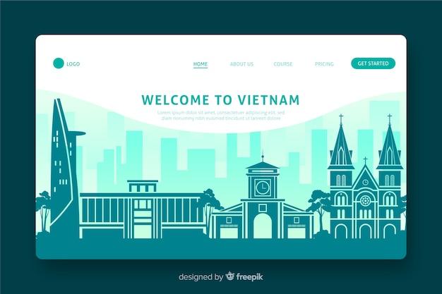 Welkom bij het platte ontwerp van de landingspagina van vietnam