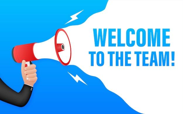Welkom bij het team geschreven op tekstballon. reclamebord