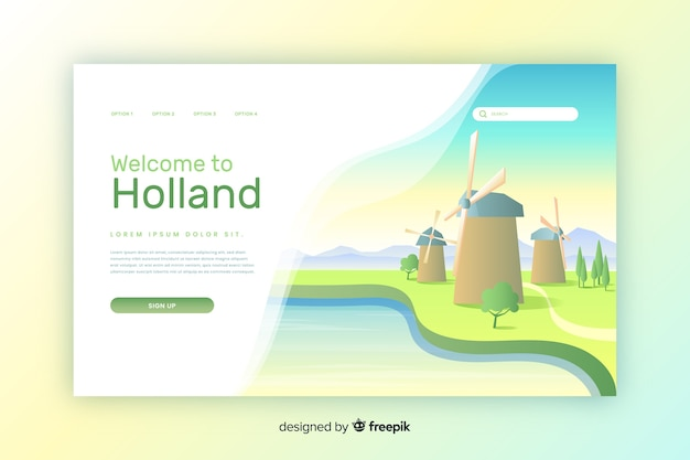 Welkom bij holland bestemmingspagina sjabloon