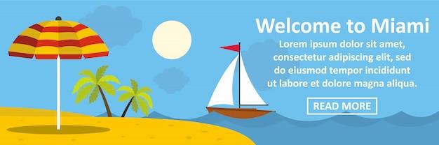 Welkom bij miami banner horizontaal concept