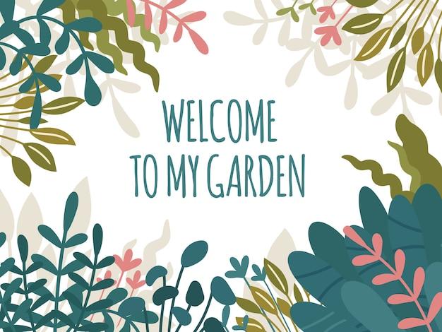 Welkom bij mijn tuintekst, rechthoekig bloemenframe met handgetekende wilde en huisplanten. weelderige tropische bladeren en groen blad. print design, trendy scandinavische hygge stijl