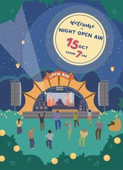 Welkom bij night open air festival-uitnodiging. verticaal ontwerp met elektronische muziekpodium en mensen die 's nachts dansen. partij.