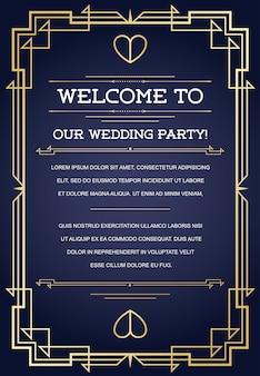 Welkom bij onze bruiloftsfeestkaartsjabloon met ontwerp in art deco of nouveau epoch 1920's