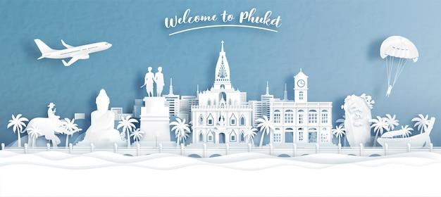 Welkom bij phuket, thailand met uitzicht op de skyline van de stad in reisconcept voor tour, reisreclame ..