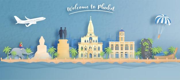 Welkom bij phuket, thailand reisconcept met wereldberoemde bezienswaardigheden van thailand in papierstijl.