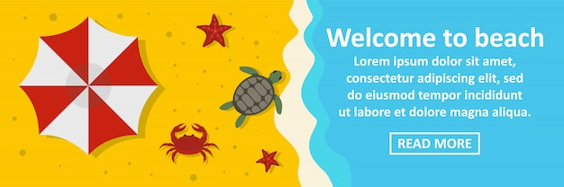 Welkom bij strand banner sjabloon horizontaal concept