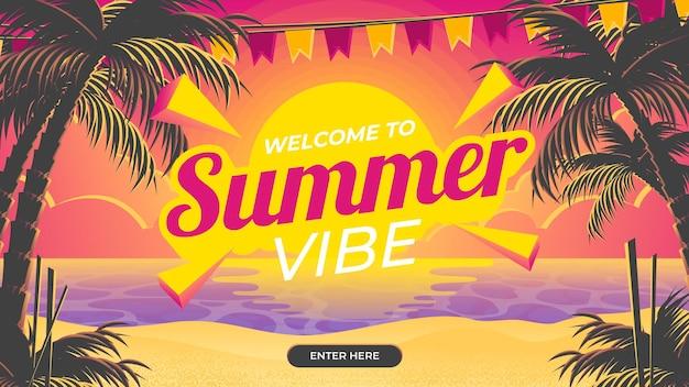 Welkom bij summer vibe banner met zonsondergangachtergrond