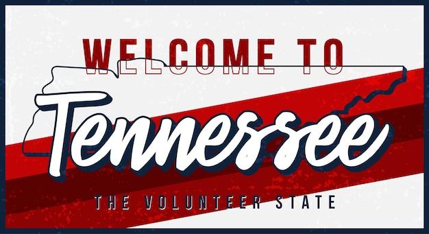 Welkom bij tennessee vintage roestige metalen bord. staatskaart in grungestijl met typografie hand getrokken belettering.