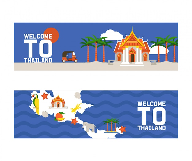 Welkom bij thailand banners. tradities, cultuur van het land. oude gedenktekens, gebouwen, natuur en dieren zoals olifanten. transportvoertuig tuk tuk