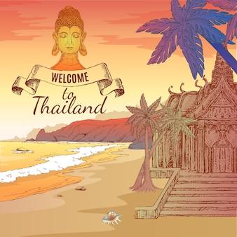 Welkom bij thailand illustratie