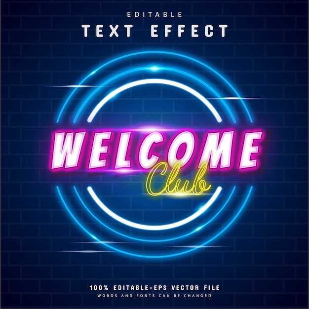 Welkom club neon teksteffect ontwerp
