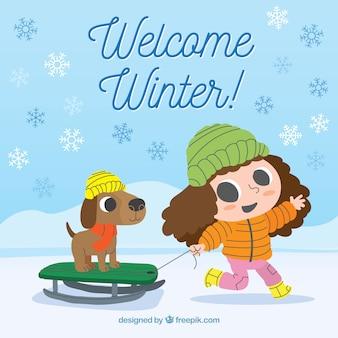 Welkom de winterachtergrond met meisje en haar hond