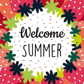 Welkom de zomerachtergrond met aardbeien