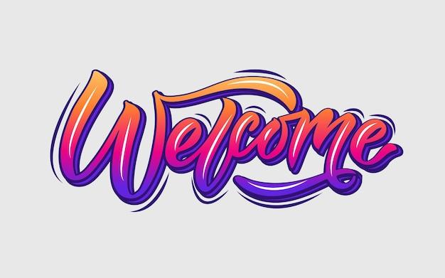 Welkom handgeschreven gradiënt poster op achtergrond hand geschetst welkom belettering typografie eps10
