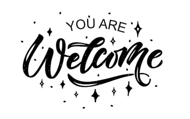 Welkom handgeschreven poster op achtergrond hand geschetst welkom belettering typografie eps10