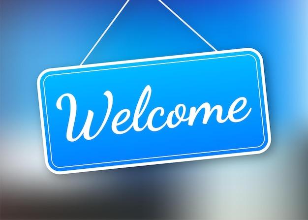 Welkom hangend teken op witte achtergrond. teken voor deur. vector voorraad illustratie.